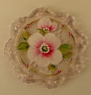 LENTON ROSE Fenton Glass PINK Christmas ORNAMENT Hand Painted Open Lace Edge
