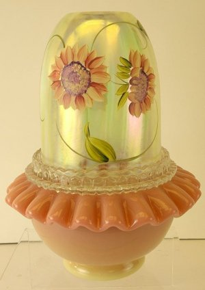FENTON Art Glass Vaseline Opalescent Stripe 3 pc FAIRY LIGHT LAMP Handpainted