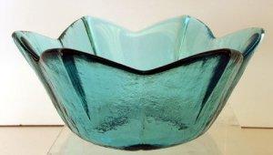 FENTON Art Glass Medium Light BLUE PETAL Bowl Textured Candy