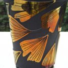 FENTON Cameo Glass CARVED Ginko Designer Proof VASE Black Satin GOLD Signed