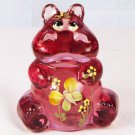FENTON Art Glass HIPPO Figurine PINK Blush Rose Handpainted & Signed 5063 AF