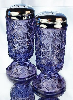 Violet FENTON Art Glass FINE CUT & BLOCK Salt & Pepper