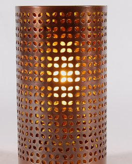 8 Quot High Small Copper Colored Perforated Metal Over Glass