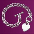 Heart Pendant Link Bracelet