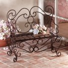 Rustic Metal Planter Bench