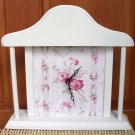 Cottage Style Clock Painted White with Rose Flowers
