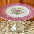 Cupcake Pedestal Dish Repurposed Fine China Pink Floral Plate with Gold Details Flowers