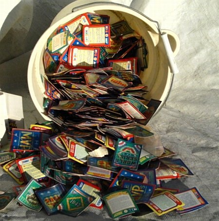 Bucket of Baseball card extras