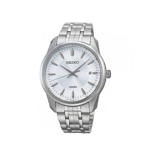 Seiko SGEG01 Mens Silver Date Dial SS Bracelet Dress Quartz Watch .