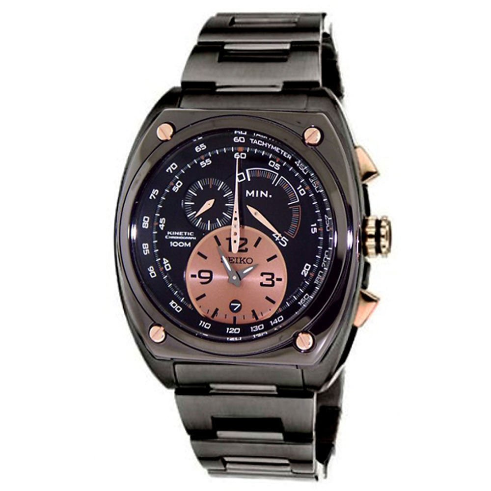 Seiko SNL071 Mens Kinetic Cal 7L22 Chronograph Limited Edition Black Ion Watch