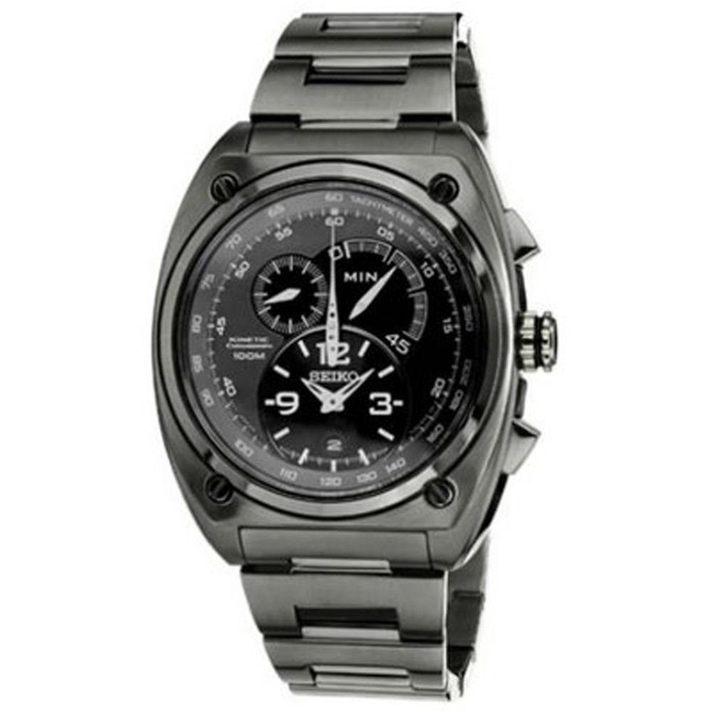 Seiko SNL073 Men's Kinetic Chronograph Black Dial Black IP Steel Watch