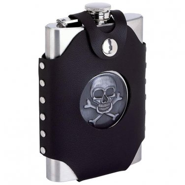 Maxam 8oz Stainless Flask w/ Skull & Cross Bones