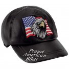 Solid Leather Adjustable Cap with Biker Logos