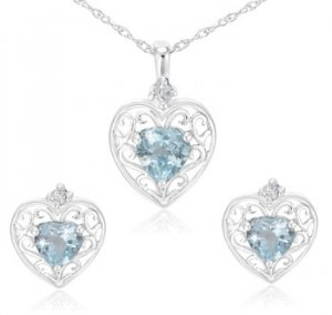 2.5 Carat Blue Topaz Heart Earrings and Pendant Set with Filigree Design
