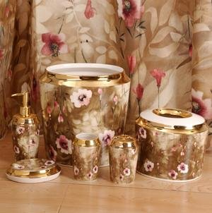 Katchia Gold Brown Rose Pink Floral Complete 7pc Bathroom Set With Shower Curtain