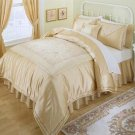 LUXURY Gold Shimmer  7pc Complete Comforter Set Ensemble Queen