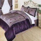 Violet Purple Velvet Complete 8pc Luxury Comforter Bedding Ensemble King