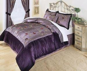 Violet Purple Velvet Complete 8pc Luxury Comforter Bedding Ensemble King