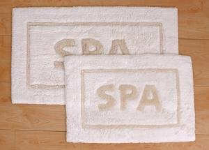 Park B. Smith 2 Pc Set Word SPA Bathroom Rug White Ecru Tan