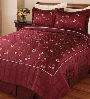 Burgundy Red Handmade Embroidered Quilt Blanket and Shams Set Queen