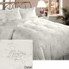 Crown Jewel Luxurious 700 tc 5 Piece Goose Down Comforter Set White Silver Queen