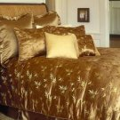 Gold Bamboo Brocade Satin Comforter Shams Bedskirt Set Queen