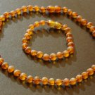 Set of unpolished cognac baltic amber baby teething necklace and bracelet or anklet