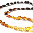 Baltic Amber Necklace Rainbow Color Olive Beads