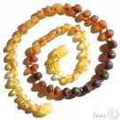 Raw Unpolished Baltic Amber Baby Teething Necklace Rounded Rainbow Color Beads
