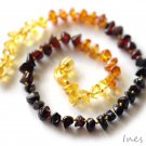 Baltic Amber Baby Teething Necklace Rainbow Color Free Form Beads