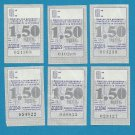 TRAM TICKETS SIX FROM THE UKRAINIAN CITY OF DNEPROPETROVSK