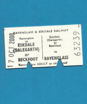 RAVENGLASS AND ESKDALE HERITAGE RAILWAY TICKET
