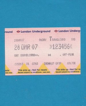 LONDON UNDERGROUND ONE DAY TRAVELCARD 2007