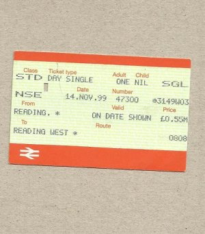 BRITISH RAIL READING TO READING WEST ONE WAY TICKET 1999
