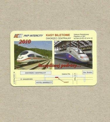 PKP INTERCITY POLISH INTERCITY TRAIN POLISH LANGUAGE CALENDAR CARD 2010