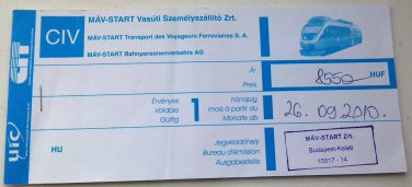 BUDAPEST ZAGRED MAV-START HUNGARIAN RAILWAY TICKET 2010 8550 HUF