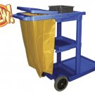 Janitor Cart Blue Plastic with Yellow Zipper 5-Bushel Bag