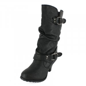 Mid-Calf Boots with Dual Buckle Black PU REVIE-03