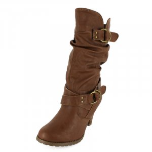 Mid-Calf Boots with Dual BuckleTaupe PU REVIE-03