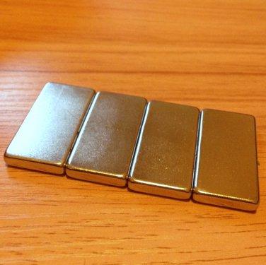 4pcs grade N52 Neodymium permanent Magnets 40mm*20mm*5mm craft