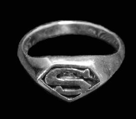 Small Superman Sterling Silver Ring