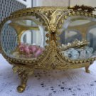 Vintage Ormolu 6 sided Beveled Glass Jewelry Casket filled w/Costume Jewelry Ice