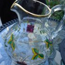 BORDEAUX 90 oz.PITCHER ACCENTED IN 22K GOLD MOUTHBLOWN HANDPAINTED GLASSWARE