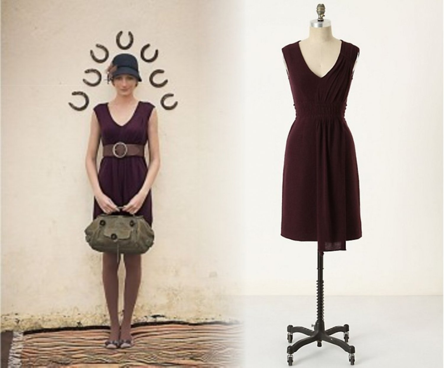 Wine L Anthropologie Sparrow Cordial Embrace Wool Dress NWT $148 Large