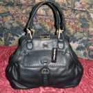 Ellen Tracy Black Leather Handbag Purse Bag Tote GORGEOUS Black