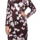 Size 6 Hugo Boss Black Silk Dress DAVIRA Premium Silk Flowers Pleats Deep Purple