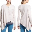L Anthropologie Lehigh Slanted Cardigan Cardi Large Beige Tom Scott Asymmetrical