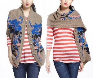 $248 Anthropologie Lucia Delphinium Shawl Sweater Small / Medium Handknit Janis Stemmermann