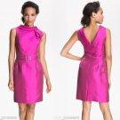 6 Teri Jon Freeman Roll Neck V Back Dress PInk Fucshia Silk Wool Origami Pleat