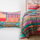 2 Pcs Anthropologie Janna King Shams Pair Icelandic Colorful Bright Graphic Cotton